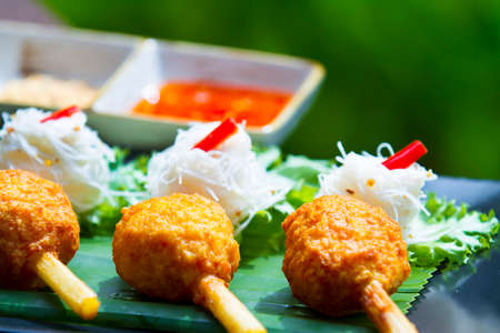 Vietnamese food fried shrimp with sugar cane and noodle Stock Photo