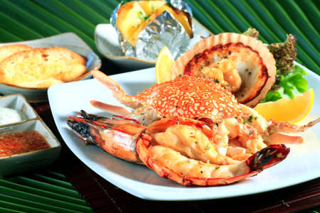 seafood platter: horse crab at the market for sell,Seafood platter