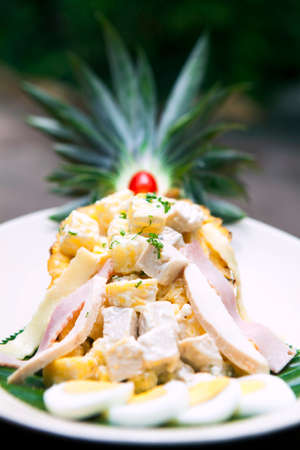 devour: Tuna salad, pineapple place in nature.
