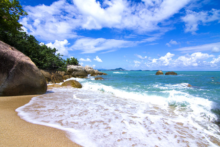 runoff: There are beautiful views of the beach, the waves and the rocks. Stock Photo