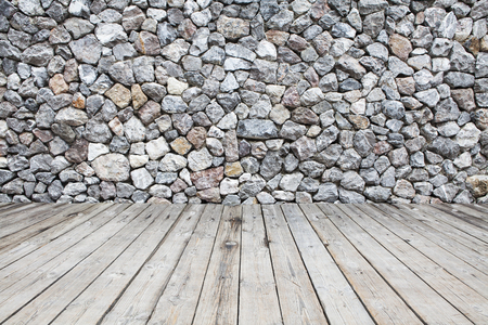 wooden boards: Wooden floor and stone walls background