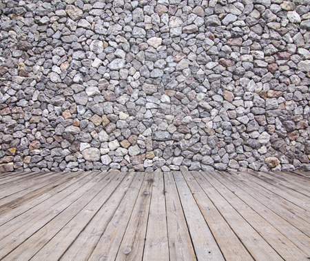 wooden partition: Wooden floor and stone walls background