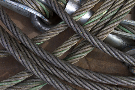 heavy duty: Heavy duty steel wire rope sling with safety anchor shackle bolt in construction site Stock Photo