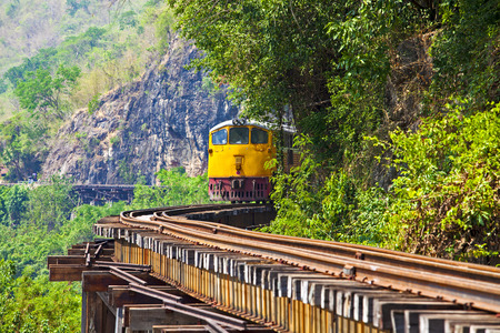 wood railway: Death railway line built with wood. Tham Kra Sae  Kanchanaburi�?? Thailand.