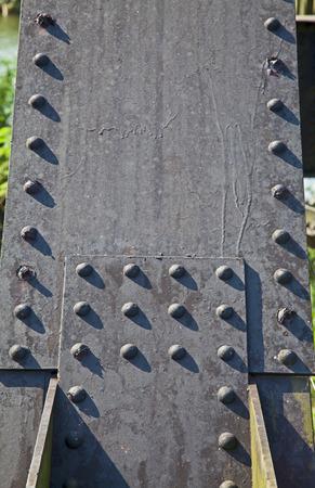 corrode: Screw steel railway bridges based on strength. Stock Photo