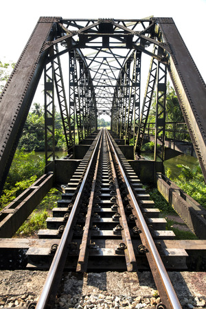 old railway bridge vintage,Sawi Railway Station is a railway station located in Na Pho Subdistrict, Sawi District, Chumphon Stock Photo