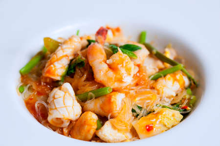 favorite soup: Vermicelli shrimp squid fried vegetables,Chinese food.