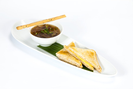 soup with two slices of bread for breakfast. Thai food in a luxury hotel.