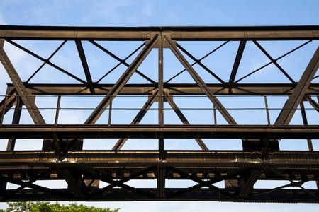 crossings: old rail way bridge vintage , Metal railway bridge ,viaduct Bang Saphan Prachuab Thailand.