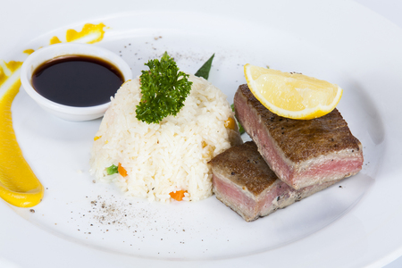 Tuna Tataki with Rice and Vegetable,Thai food in a luxury hotel.