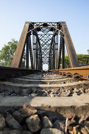 old rail way bridge vintage , Metal railway bridge ,viaduct Bang Saphan Prachuab Thailand.