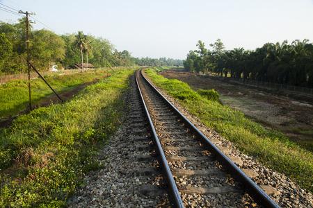 goods train: old railroad tracks at railway station, transportation