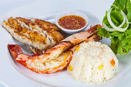 Fried rice with vegetables,Seafood menu. There are fish and shrimp,Thai food in a luxury hotel. Stock Photo