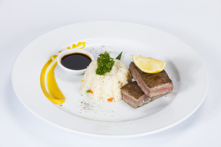 Tuna Tataki with Rice and Vegetable,Thai food in a luxury hotel.