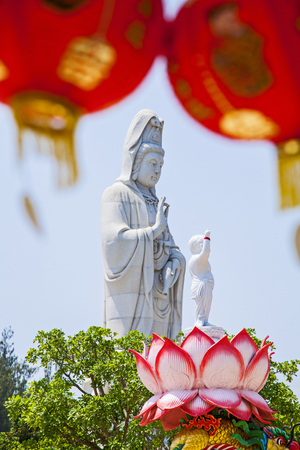 Statue of Guanyin Background sky Place Sathorn in Becket. Guanyin statue, The Goddess of Compassion and Mercy.