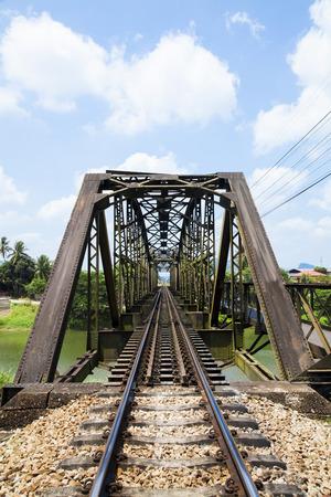 old rail way bridge vintage , Metal railway bridge ,viaduct  Lang Suan  Chumphon Thailand.
