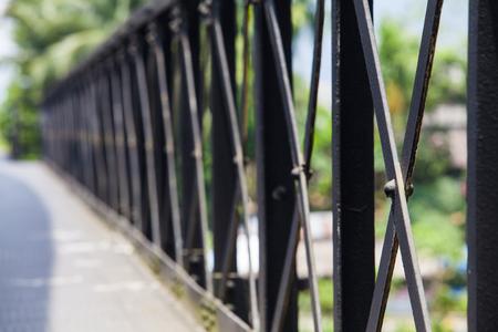Piece steel assembly bridge. old rail way bridge vintage , Metal railway bridge ,viaduct  Lang Suan  Chumphon Thailand.