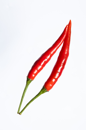 capsaicin: Red chili pepper isolated on a white background.