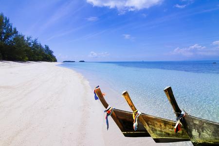 trat: Boat on the sea,white Sand Beach at Kho Mat Sum Island Koh Samui, Thailand.