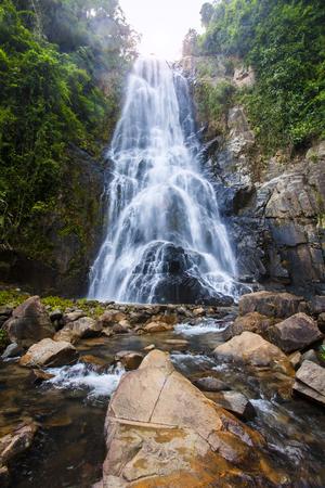 Natural background  waterfall Colorful leaves waterfall thailand tropical, Khao Nan National Park,Sunanta Waterfall Nakhon Si Thammarat Thailand.