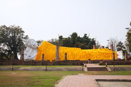 Big white buddha in Wat Khun Inthapramun Ang Thong Thailand.