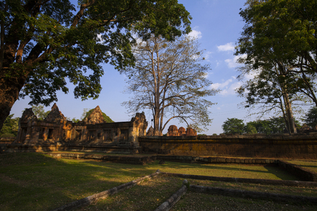 Prasat Muang Tam historical park is Castle Rock old Architecture about a thousand years ago at Buriram ProvinceThailand
