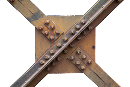 a strong steel beams structure of a railway bridge with nuts and bolts, Screw steel railway bridges based on strength.