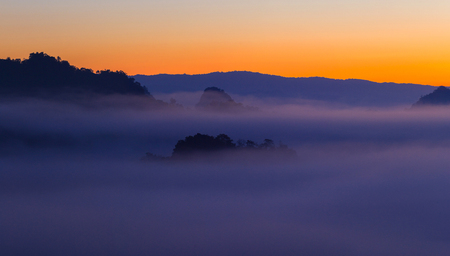 Mountain view with foggy environment during sunrise in the morning in baan jabo view point Pang Mapha Mae Hong Son Province of Thailand