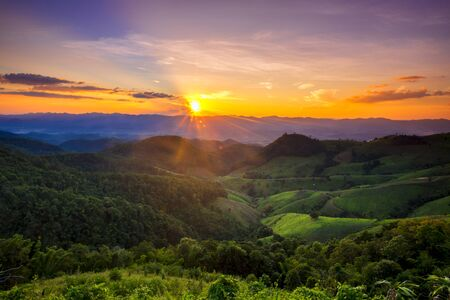 Trip to the highest Mountain of Pai -Sunset Mountain view in Doi Mieng viewpoint Pai Mae Hong Son Province of Thailand Фото со стока
