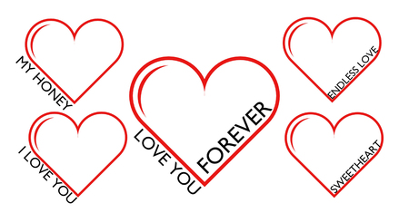 set of red hearts love you forever my sweetheart honey endless love Stock Photo