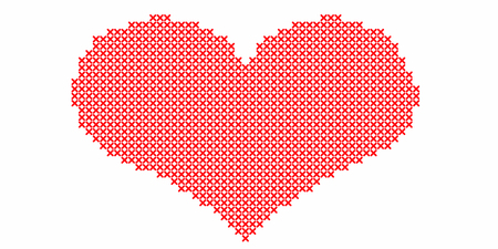 Embroidered by cross stitch,red heart on white background.Illustration