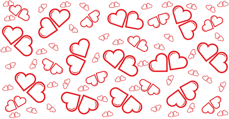 little couple red heart,card,pattern,template for happiness