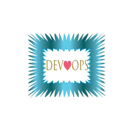 Dev love ops label ,cyan color . square  banner and badges design.On white background