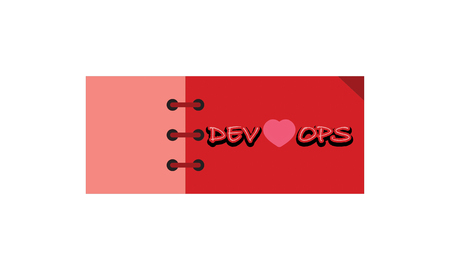 dev love ops label ,red and soft red color . rectangle banner and badges design.On white background. Stok Fotoğraf