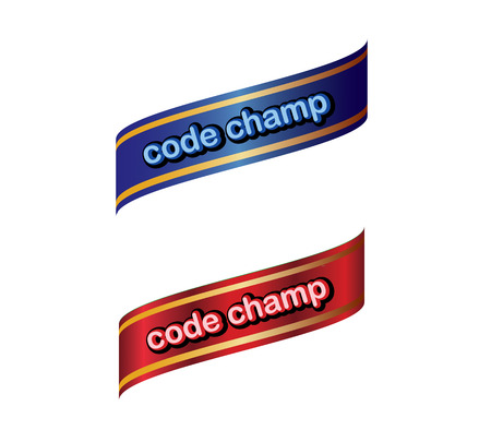 code champ label ,blue cyan red gold color . ribbon banner and badges design.On white background.