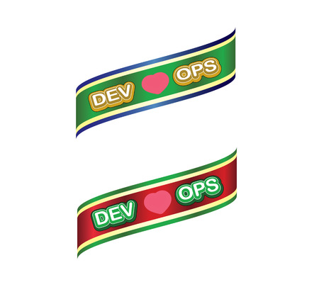 dev love ops label ,green red gold color . ribbon banner and badges design.On white background. Stock Photo