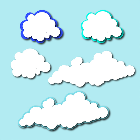 Set of cute and beautiful cloud for decorate.Illustration.