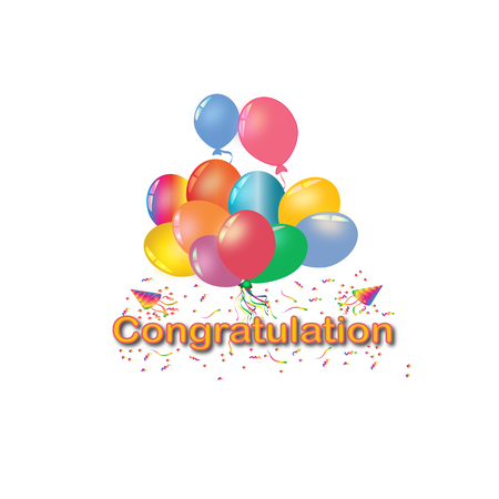 Set of rainbow colorful balloon for festival and party in happiness of life with word.Congratulation.
