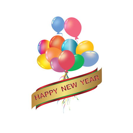 Set of rainbow colorful balloon for festival and party in happiness of life with word.Happy new year.
