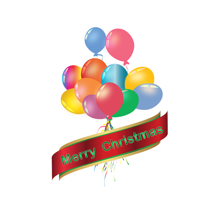 Set of rainbow colorful balloon for festival and party in happiness of life with word.Merry Christmas.