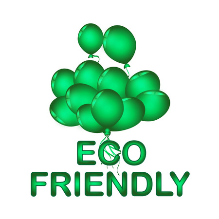Set of green balloon for festival and party in happiness of life with word. ECO FRIENDLY. Illustration