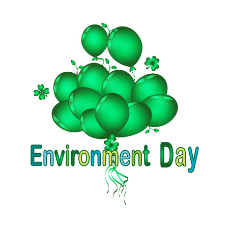 Set of green balloon for festival and party in happiness of life with word.Environment Day Illustration