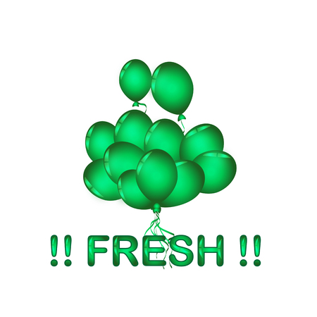 Set of green balloon for festival and party in happiness of life with word.FRESH.