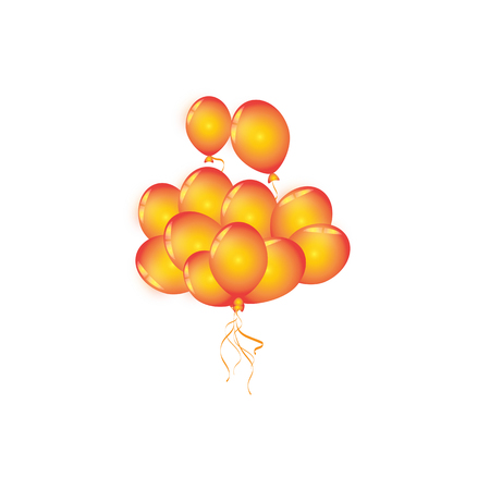 Set of orange balloon for festival and party in happiness of life. Illustration
