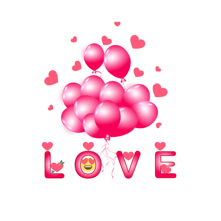 Set of pink balloon for festival and party in happiness of life with word. LOVE.