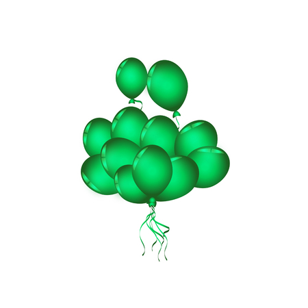 Set of green balloon for festival and party in happiness of life. Illustration