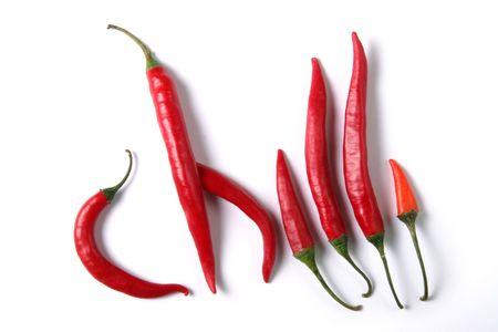red hot chilli ov white background