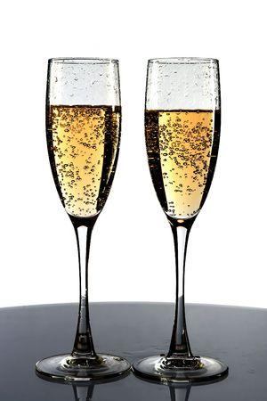 Dos copas con champagne  Foto de archivo - 618557
