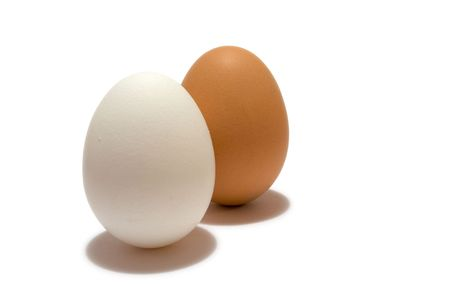 two eggs in different colors, isolated