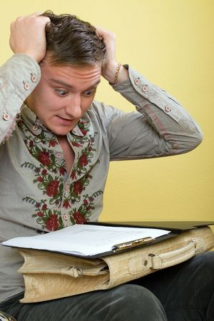 hardships: young men have trouble and reading document